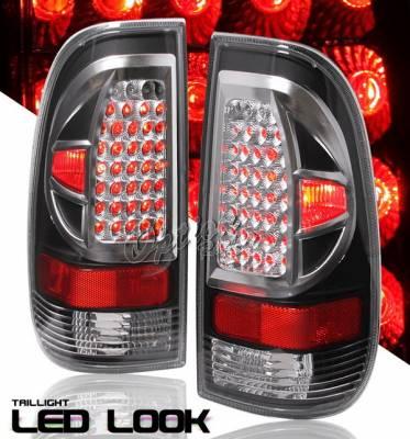 OptionRacing - Ford F150 Option Racing Taillights LED Look - Black - FDPU-97TB