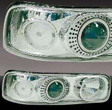 Pilot - Chevrolet Silverado Pilot Chrome Projector Headlight - Pair - HL-603CP