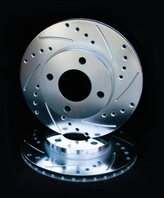 Royalty Rotors - Saturn SL Royalty Rotors Slotted & Cross Drilled Brake Rotors - Front