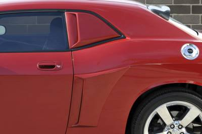 Xenon - Dodge Challenger Xenon Quarter Window Scoop Kit - Right And Left with Black Vinyl Inserts - 12950