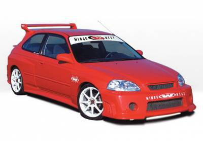 Wings West - Honda Civic HB Wings West GSR Style Wide Body Complete Body Kit - Fiberglass - 9PC - 490181