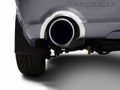 AM Custom - Ford Mustang Polished Rear Valance Exhaust Cutout Trim - 12100