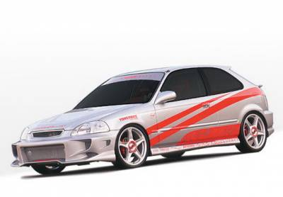 Wings West - Honda Civic HB Wings West Aggressor Type II Complete Body Kit - 4PC - 890463