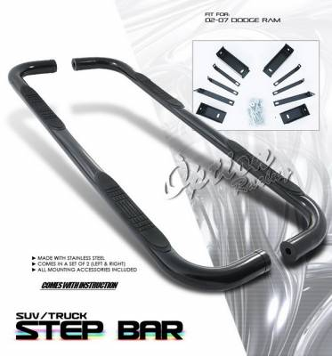 OptionRacing - Dodge Ram Option Racing Side Step Bar - Black - 30-17120-J1