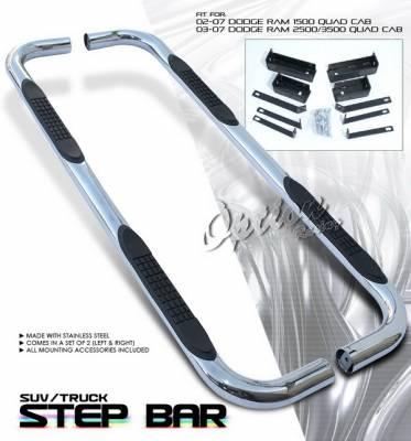 OptionRacing - Dodge Ram Option Racing Side Step Bar - Stainless - 30-17121-J1