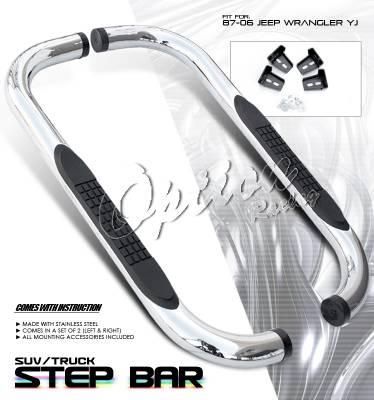 OptionRacing - Jeep Wrangler Option Racing Side Step Bar - 30-26204