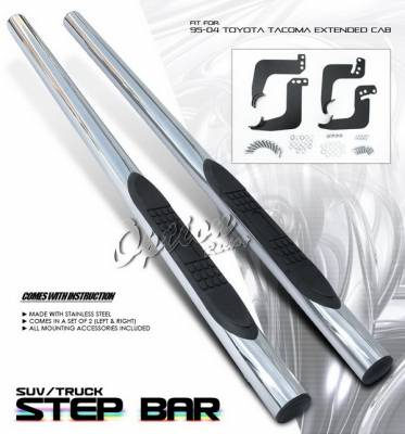 OptionRacing - Toyota Tacoma Option Racing Side Step Bar - Stainless - 30-44191