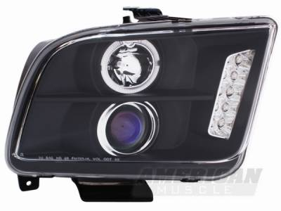 AM Custom - Ford Mustang Black Halo Projector Headlights - LED - 49005