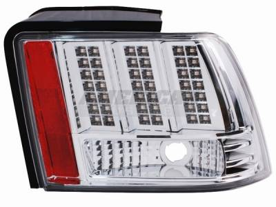 AM Custom - Ford Mustang Chrome 3-Light LED Taillights - 49044