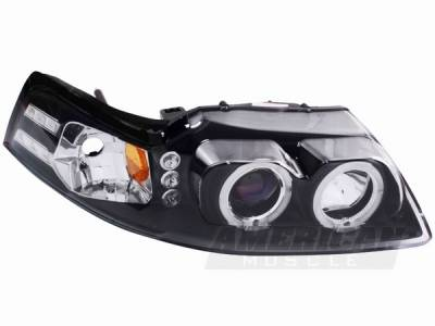 AM Custom - Ford Mustang Black Dual Halo Projector Headlights - LED - 49113