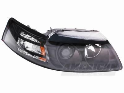 AM Custom - Ford Mustang Black Projector Headlights - 49126