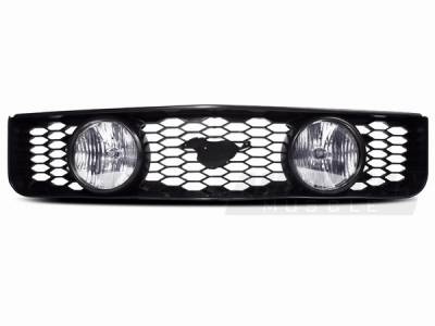 AM Custom - Ford Mustang GT Style Grille with Fog Lights & Pony Cutout - 94320