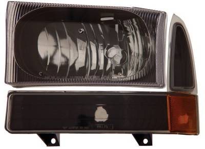 Anzo - Ford Superduty Anzo Headlights - Black with Corner Amber - 111080