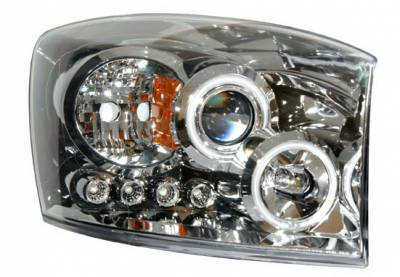 Anzo - Dodge Ram Anzo Projector Headlights - Halo Chrome & Clear Amber- CCFL - 111103