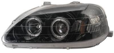 Anzo - Honda Civic Anzo Projector Headlights - with Halo Black - 121071