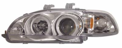 Anzo - Honda Civic 2DR Anzo Projector Headlights - Chrome Clear with Halo - CCFL - 1PC - 121150