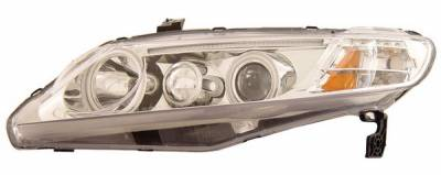 Anzo - Honda Civic 4DR Anzo Projector Headlights - with Halo - Chrome & Clear with Amber Reflectors - CCFL - 121175
