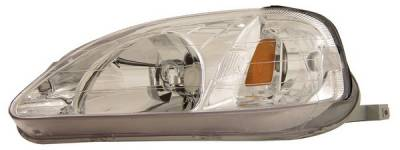 Anzo - Honda Civic Anzo Headlights - Chrome with Amber Reflectors - 121179