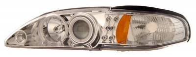 Anzo - Ford Mustang Anzo Projector Headlights - Chrome Clear with CCFL Halos - 1PC - 121203
