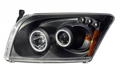 Anzo - Dodge Caliber Anzo Projector Headlights - Black & Clear Halos- CCFL - 121214