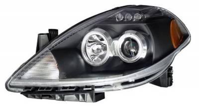 Anzo - Nissan Versa Anzo Projector Headlights - Black with Halos - CCFL - 121240