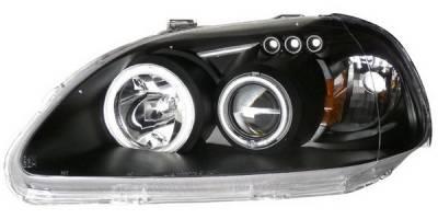 Anzo - Honda Civic Anzo LED Projector Headlights - G2 Halo Black & Clear & Amber- CCFL - 121246