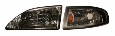 Anzo - Ford Mustang Anzo Headlights - Crystal & Clear with Amber Reflectors - 121262