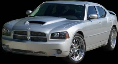 APM - Dodge Charger APM Fiberglass Style 1 Power Hood Functional Hood with Factory Cold Air Intake System - Primed - 811262