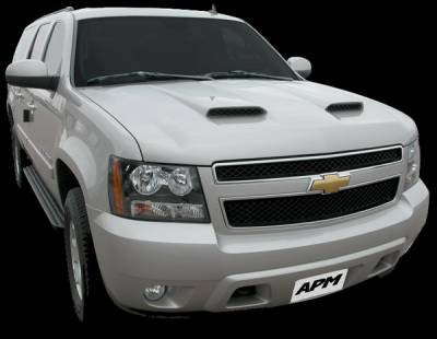 APM - Chevrolet Tahoe APM Fiberglass with Z06 Style Scoops Functional Hood - Primed - 811432