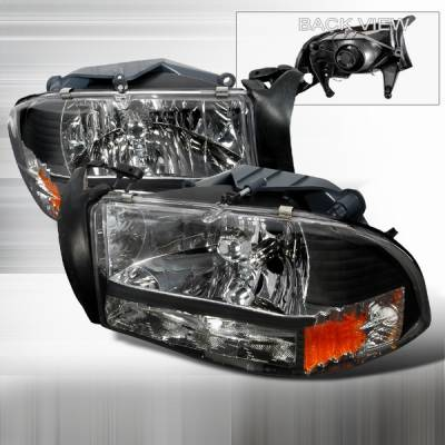 Custom Disco - Dodge Durango Custom Disco Black Crystal Headlights with Amber Reflector - 1PC - 2LH-DAK97JM-ABM