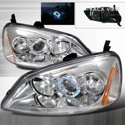 Custom Disco - Honda Civic Custom Disco Chrome Halo Projector Headlights - 2LHP-CV01-YD