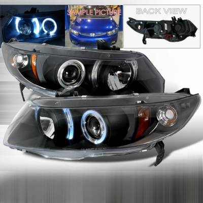 Custom Disco - Honda Civic 2DR Custom Disco Black Projector Headlights with Amber Reflector - 2LHP-CV062JM-YD