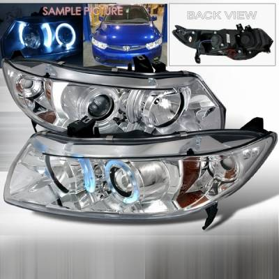 Custom Disco - Honda Civic 2DR Custom Disco Chrome Projector Headlights with Amber Reflector - 2LHP-CV062-YD