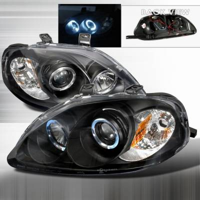 Custom Disco - Honda Civic Custom Disco Black Projector Headlights - 2LHP-CV99JM-YD