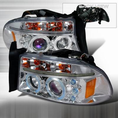 Custom Disco - Dodge Dakota Custom Disco Chrome Dual Halo Projector Headlights with LED Eyebrows & Amber Reflector - 2LHP-DAK97B-TM