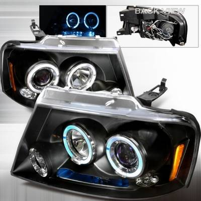 Custom Disco - Ford F150 Custom Disco Halo LED Projector Headlights - 2LHP-F15004JMB-TM