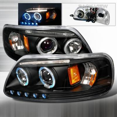 Custom Disco - Ford F150 Custom Disco LED Halo Projector Headlight with Black Trim - 2LHP-F15097JMB-TM