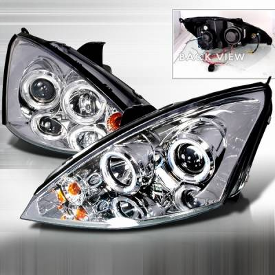 Custom Disco - Ford Focus Custom Disco Chrome Halo LED Projector Headlights with Amber Reflector - 2LHP-FOC00-YD