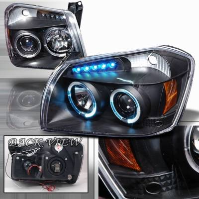 Custom Disco - Dodge Magnum Custom Disco Black Halo LED Projector Headlights with Amber Reflector - 2LHP-MAG05JM-YD