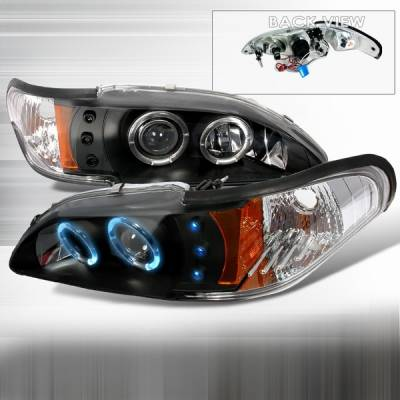 Custom Disco - Ford Mustang Custom Disco Black LED Dual Halo Projector Headlights with Amber Reflector - 2LHP-MUS94JM-YD