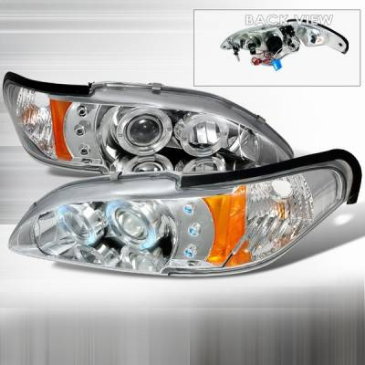 Custom Disco - Ford Mustang Custom Disco Chrome LED Dual Halo Projector Headlights with Amber Reflector - 2LHP-MUS94-YD