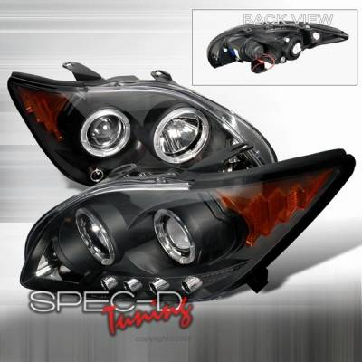 Custom Disco - Scion tC Custom Disco Black Dual Halo LED Projector Headlights with Amber Reflector - 2LHP-TC05JM-YD