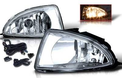 WinJet - Honda Civic WinJet OEM Fog Light - Clear - Wiring Kit Included - WJ30-0033-09