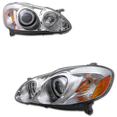 Custom - Chrome Halo Pro Headlights  Amber