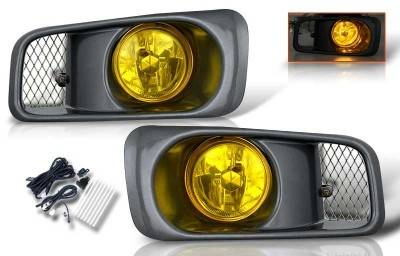 WinJet - Honda Civic WinJet OEM Fog Light - Yellow - Wiring Kit Included - WJ30-0034-12