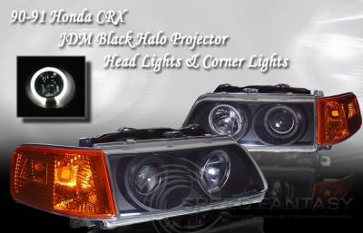 Custom - Black Halo Headlights Amber