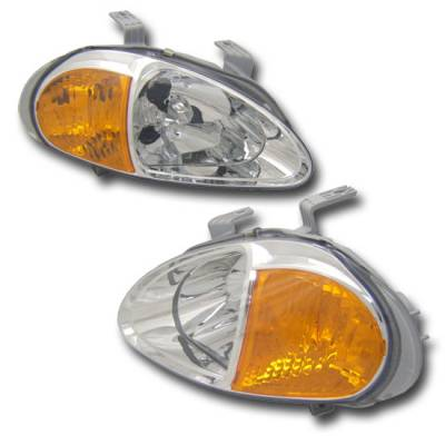 Custom - Euro JDM Chrome Headlights Amber