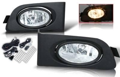 WinJet - Honda Civic 2DR & 4DR WinJet OEM Fog Light - Clear - Wiring Kit Included - WJ30-0036-09