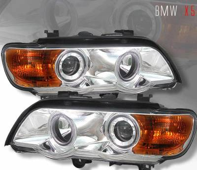 Custom - angel eyes Projector Headlights  - White Halo - Amber