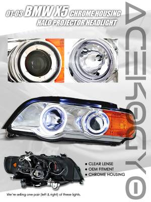 Custom - Euro Chrome Blue Halo Projector Headlights - Amber